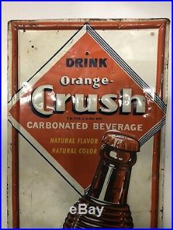 Rare Large Vintage 1940's Orange Crush Crushy Soda Pop 48 Embossed Metal Sign