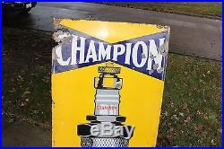 Rare Large Vintage c. 1930 Champion Spark Plugs Gas Oil 60 PorcelainMetal Sign