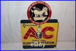 Rare Vintage 1930's AC Spark Plugs Gas Oil 2 Sided 15 Metal Flange Sign