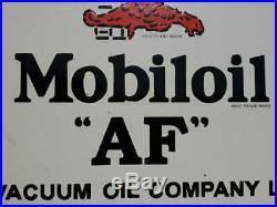 Rare Vintage 1930's Old Antique Mobil Oil AF Adv. Porcelain Enamel Sign Board