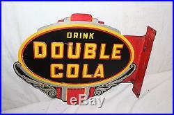 Rare Vintage 1947 Drink Double Cola Soda Pop 2 Sided 18 Metal Flange Sign