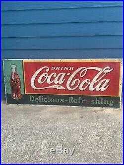 Rare Vintage Coca-Cola 1930s Metal Original Soda Sign