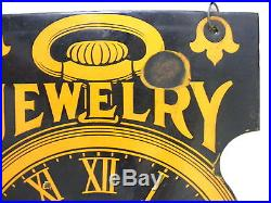 Rare Vintage Double Sided Jewelry Watch Repair Porcelain Sign