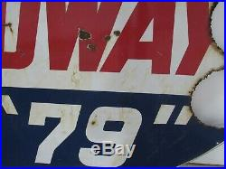 Rare Vintage Original DS Porcelain Speedway 79 Gasoline Station Sign Racing