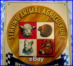 Rare Vintage Purina Chows Metal Sign Farm Feed and Seed Cow, Pig Swine, Chicken