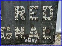 Rare Vintage Railroad Crossing Sign Stop On Red Signal Glas Cat Eyes Reflectors