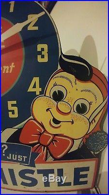 Rare Vtg 1940's Whistle Orange Soda Pop Gas Oil 24 Clock Sign Works Great Color