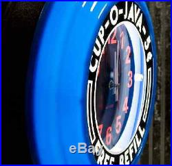 Retro Diner Wall Clock Vintage Style Advertising Electric Blue Lighted 14 Diam
