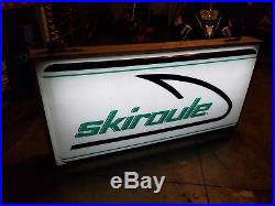 Skiroule Snowmobile Lighted Dealer Sign Vintage 1970's