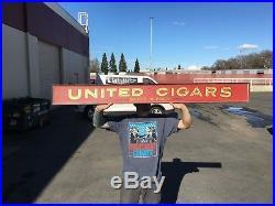 United Cigar Store Agency Vintage Original Wood Painted Sign 100 Years Old