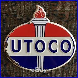 Utoco Porcelain Sign Standard Oil & Gas Pump Plate Original Vintage
