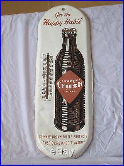 VINTAGE 1940's ORANGE CRUSH SODA POP GAS STATION 19 METAL THERMOMETER SIGN