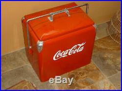 VINTAGE 1950'S COCA COLA LOGO on TRIP NIC METAL COOLER PROGRESS REFRIG CO coke