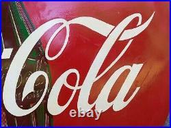 VINTAGE 1955 ADVERTISING METAL COCA COLA BUTTON SIGN 48 w\mounting n wood brack