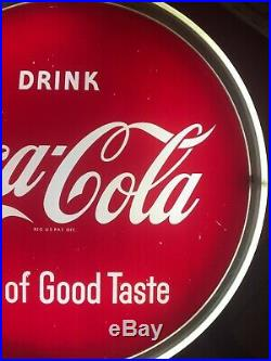 VINTAGE 50s DRINK COCA COLA NPI LIGHT UP DISPLAY SIGN =HALO=SIGN OF GOOD TASTE