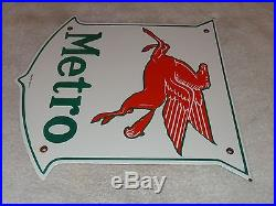 Vintage Mobil Metro 11 3/4 Porcelain Gas & Oil Sign! Pump Plate! No Reserve