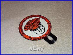 Vintage Oilzum Motor Oils & Lubricants 4 Porcelain License Plate Topper Sign Nr
