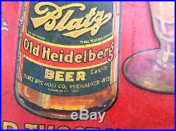 Vintage Original Blatz Heidelberg Advertising Beer Sign 15 Cent Bottle Milwaukee