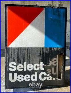 VINTAGE OUTDOOR LIGHTED SIGN 5'x6' AMERICAN MOTORS USED CARS AMC DEARLERSHIP