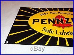 VINTAGE PENNZOIL SAFE LUBRICATION 27 x 15 PORCELAIN GAS & OIL SIGN! PUMP PLATE