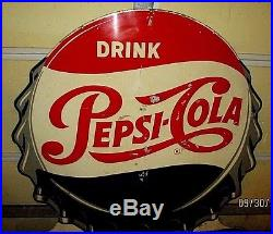 Vintage Pepsi-cola Bottle Cap Sign-more Bounce To The Ounce-51-embossed-store
