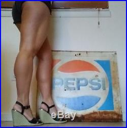 VINTAGE Pepsi Cola metal sign soda pop red blue advertising man cave ORIGINAL