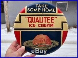VINTAGE RARE MINTY c. 1940 9 CELLULOID QUALITEE ICE CREAM SODA FOUNTAIN SIGN