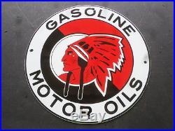 Vintage Red Indian Gasoline & Motor Oil 11 3/4 Porcelain Gas Sign Pump Plate Nr