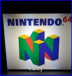 VINTAGE Retro NINTENDO 64 Rare Lighted RETAIL DISPLAY SIGN N64 Video Games