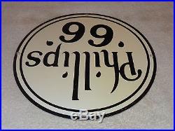 Vintage Scarce Phillips 66 Black 11 3/4 Porcelain Gas & Oil Sign! Pump Plate