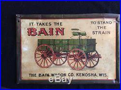 Vintage Tin Litho Advertising Sign Bain Wagon Company