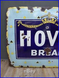 Very Rare Large Early Antique Vintage Hovis Enamel Advertising Sign