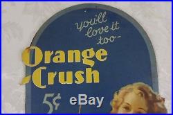 Very Rare Vintage 1930's Orange Crush Soda Advertising Lithograph Poster