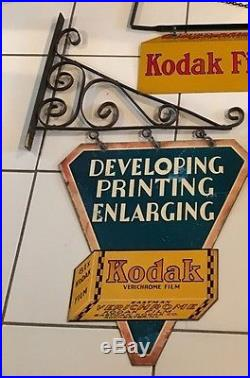 Very Rare Vintage Kodak Sign With Original Bracket Developing Printing Enlarging