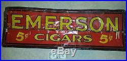 Very old vintage Emerson 5 Cent Cigars metal sign 39 long. Tobacco advertising