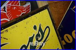 Vintage 10' ORIGINAL Vernors Tin Advertising Soda POP 1940's embossed Sign RARE