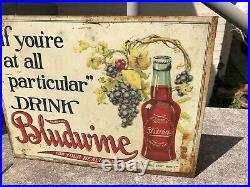 Vintage 1910s Metal Bludwine Sign Starting at $250 Prohibition Era Soft Drink