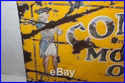 Vintage 1920's Conoco Motor Oil Gas Station 2 Sided 28 Porcelain Metal Sign