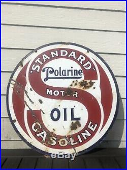 Vintage 1920s Standard Polarine gas oil porcelain sign 30 Double Sided