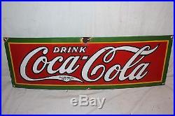 Vintage 1928 Drink Coca Cola Soda Pop 30 Porcelain Metal Sign