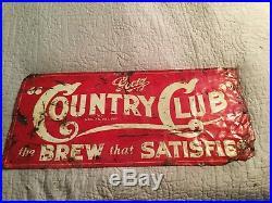 Vintage 1930's Goetz Country Club Beer Bar Gas Oil 30 Embossed Metal Sign