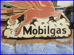 Vintage 1930's Old Antique Rare Horse Mobil gas Oil Porcelain Enamel Sign Board
