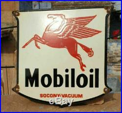 Vintage 1930's Old Antique Very Rare Mobil Oil Porcelain Enamel Sign Board