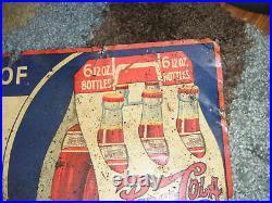 Vintage 1930's PEPSI Double Dot Soda Cola Rare Six Pack Tin Advertising SIGN