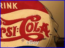 Vintage 1930s Pepsi Cola Soda Pop Bottle Cap Gas Station 13 Embossed Metal Sign