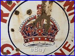 Vintage 1930s Red Crown Gasoline 42 Porcelain Original Sign Standard Oil Patina
