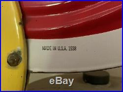 Vintage 1938 Original Coca-Cola Enameled Porcelain Advertising Sign-Beautiful