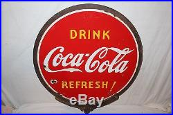 Vintage 1939 Coca Cola Soda Pop 2 Side 32 Lollipop Porcelain Metal Sign WithFrame