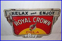 Vintage 1940 RC Royal Crown Cola Soda Pop Bottle 2 Sided 24 Metal Sign