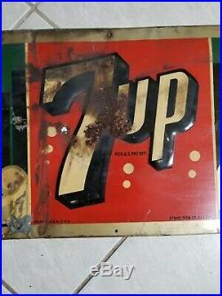 Vintage 1940's 7Up 7 Up Soda Pop Gas Station 30 Embossed Metal Sign